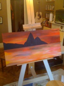 Working on a piece of art (Pitons of Saint Lucia)