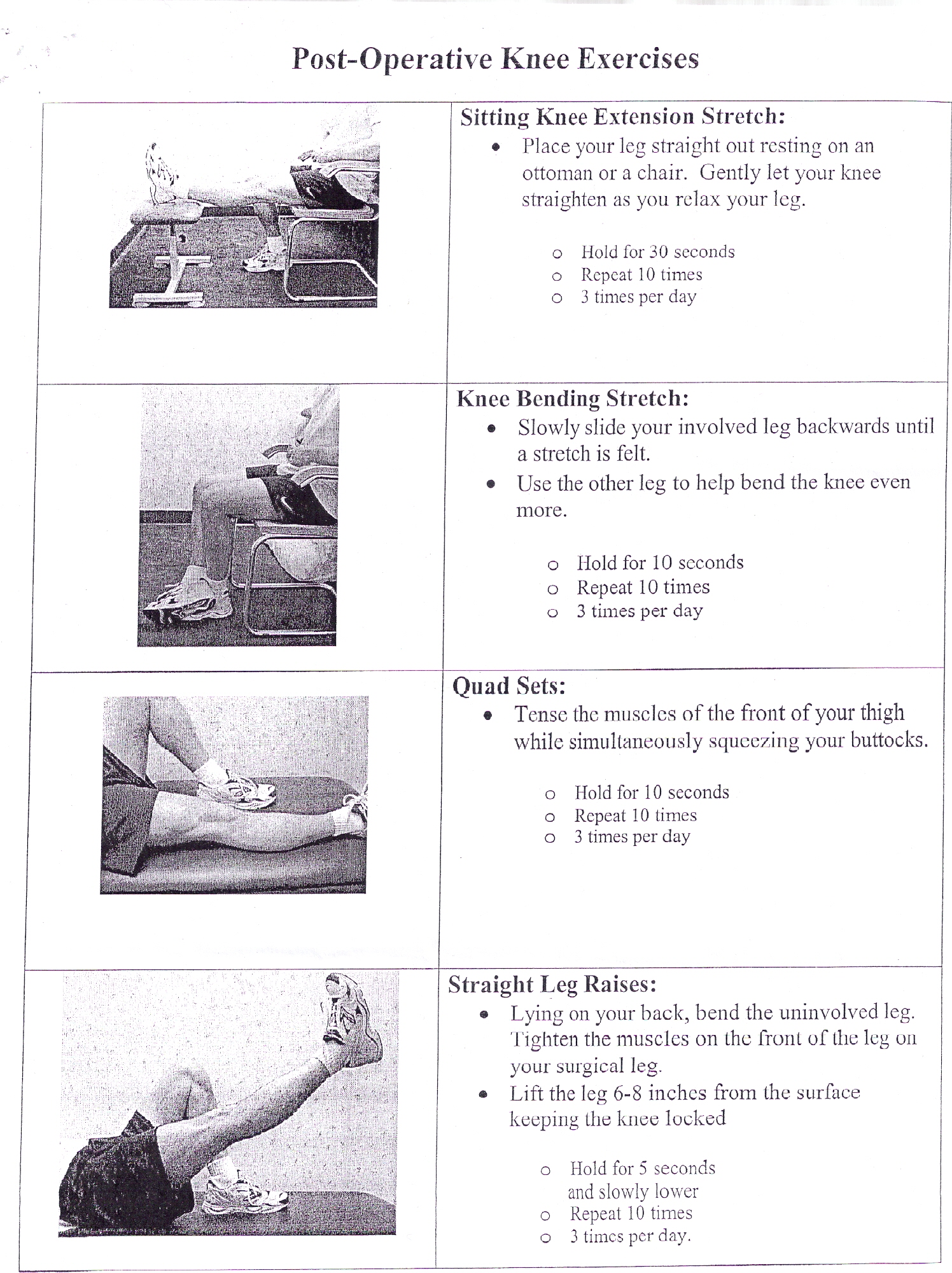 Post Operative Knee Exercises Alexcpaul Com