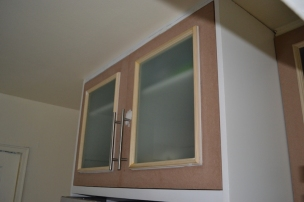 Custom Cabinet doors with Frosted Glass and Applied Molding